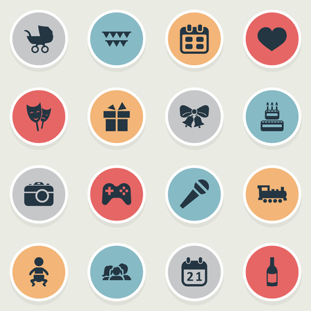 Vector illustratie Set van eenvoudige viering iconen. Elementen Soul, Domestic, Camera and Other Synoniemen Photography, Family And Date. Stock Illustratie