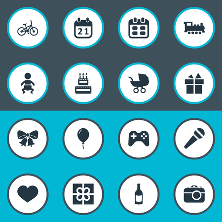 Vector Illustration Set Of Simple Holiday Icons. Elements Confectionery, Infant, Game And Other Synonyms Train, Fizz And History. Illustration