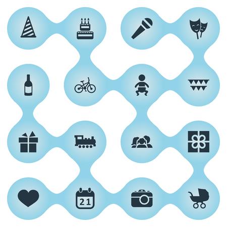 Vector illustratie Set van eenvoudige viering iconen. Elementen kinderwagen, fiets, lint en andere synoniemenwandelwagen, theater en kind. Stockfoto - 77916958