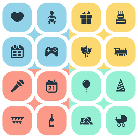 Vector Illustration Set Of Simple Birthday Icons. Elements Train, Infant, Cap And Other Synonyms Confectionery, Infant And Prize.