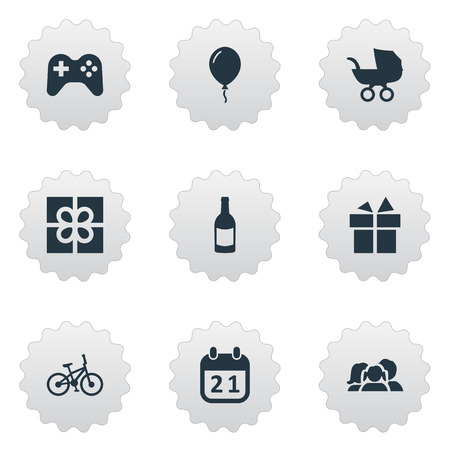 Vector Illustration Set Of Simple Celebration Icons. Elements Ribbon, Special Day, Baby Carriage And Other Synonyms Play, Baby And Family.