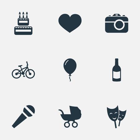 Illustration vectorielle Set d'icônes d'anniversaire simple. Éléments Aerostat, Boisson, Masque Et Autres Synonymes Vélo, Théâtre Et Boisson. Banque d'images - 77916971