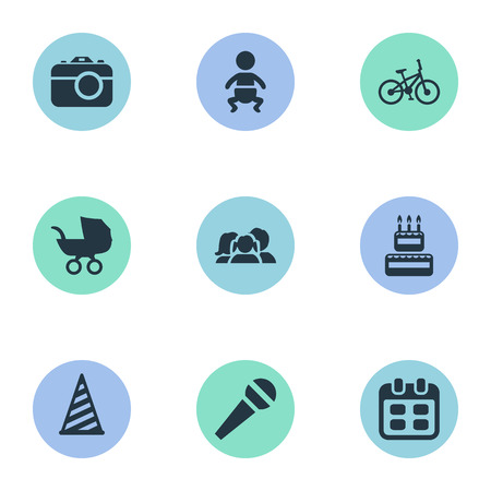 Vector Illustration Set Of Simple Birthday Icons. Elements Domestic, Baby Carriage, Cap And Other Synonyms Photography, People And Stroller. Illustration