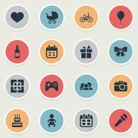 Vector Illustration Set Of Simple Holiday Icons. Elements Camera, Aerostat, Beverage And Other Synonyms Carriage, Prize And Champagne.