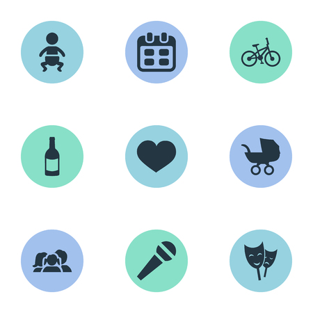 Vector Illustration Set Of Simple Birthday Icons. Elements Mask, Days, Baby Carriage And Other Synonyms Days, Carriage And Soul. Illustration