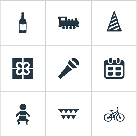 Vector Illustration Set Of Simple Birthday Icons. Elements Bicycle, Cap, Train And Other Synonyms Bicycle, Date And Fizz.