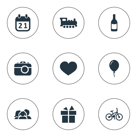 Vector Illustration Set Of Simple Birthday Icons. Elements Soul, Beverage, Train And Other Synonyms Camera, Calendar And Train.