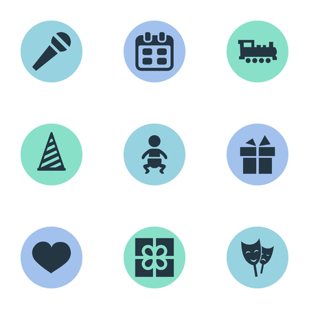 Vector Illustration Set Of Simple Celebration Icons. Elements Ribbon, Soul, Infant And Other Synonyms Present, Hat And Heart.