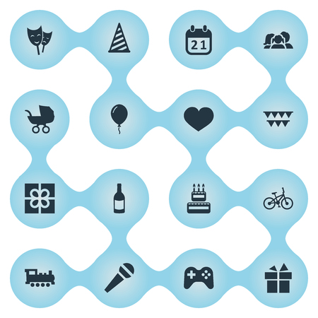 comedy: Vector Illustration Set Of Simple Celebration Icons. Elements Bicycle, Baby Carriage, Decorations; And Other Synonyms Train, Theater And Ribbon.