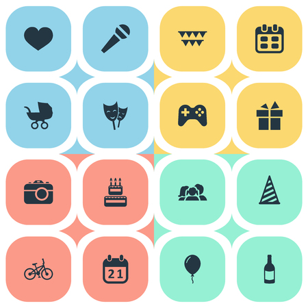 Vector Illustration Set Of Simple Holiday Icons. Elements Aerostat, Special Day, Bicycle And Other Synonyms Mask, Date And Balloon.