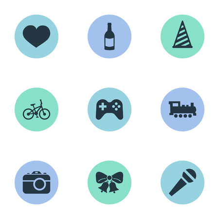 Vector Illustration Set Of Simple Celebration Icons. Elements Bicycle, Beverage, Game And Other Synonyms Hat, Photography And Feelings. Ilustração