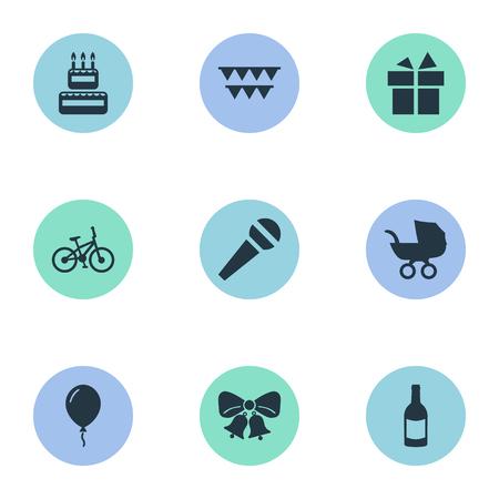 Illustration vectorielle Set d'icônes d'anniversaire simple. Éléments Boisson, Parole, Confiserie Et Autre Synonymes Confiserie, Microphone Et Cadeau. Banque d'images - 77840693