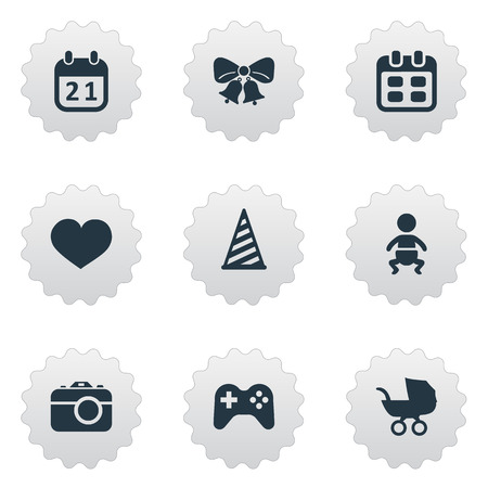 Vector Illustration Set Of Simple Celebration Icons. Elements Game, Cap, Soul And Other Synonyms Date, Stroller And Baby. Illustration