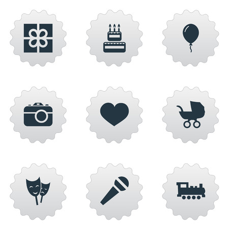 Vector Illustration Set Of Simple Birthday Icons. Elements Train, Baby Carriage, Confectionery And Other Synonyms Speech, Box And Baby. Ilustração