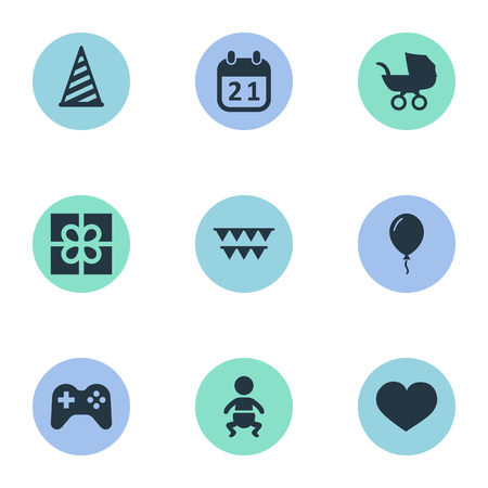Vector Illustration Set Of Simple Holiday Icons. Elements Cap, Box, Game And Other Synonyms Day, Game And Soul. Ilustração
