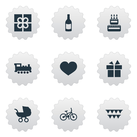 Vector Illustration Set Of Simple Celebration Icons. Elements Box, Decorations;, Ribbon And Other Synonyms Gift, Baby And Cake.