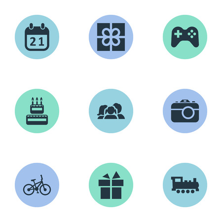 Vector Illustration Set Of Simple Birthday Icons. Elements Confectionery, Game, Train And Other Synonyms Confectionery, History And Domestic.
