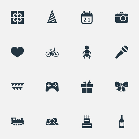 Vector Illustration Set Of Simple Celebration Icons. Elements Ribbon, Domestic, Train And Other Synonyms Heart, Prize And Play. Ilustração