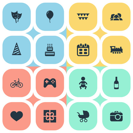 Vector Illustration Set Of Simple Celebration Icons. Elements Bicycle, Train, Soul And Other Synonyms Game, Baby And Carriage. Ilustração