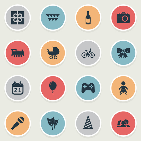 Vector Illustration Set Of Simple Birthday Icons. Elements Train, Speech, Game And Other Synonyms Voice, Domestic And Train.