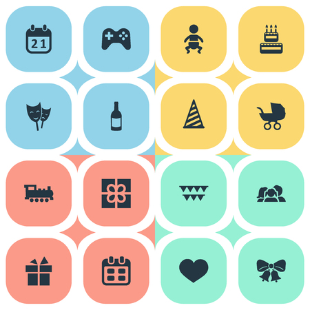 chronology: Vector Illustration Set Of Simple Celebration Icons. Elements Infant, Cap, Days And Other Synonyms Ribbon, People And Cap.