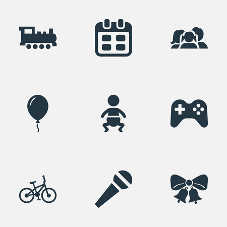 chronology: Vector Illustration Set Of Simple Birthday Icons. Elements Resonate, Domestic, Speech And Other Synonyms Aerostat, Bicycle And Locomotive. Illustration