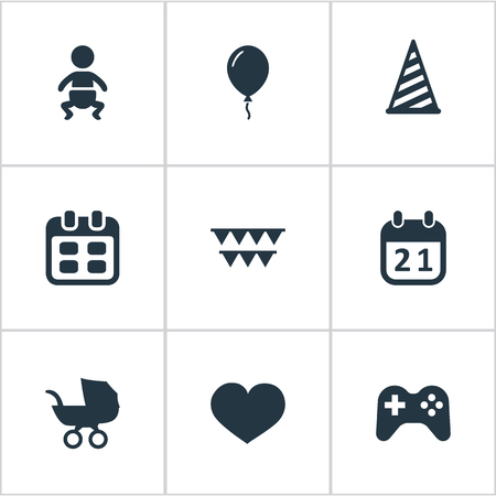 Vector Illustration Set Of Simple Celebration Icons. Elements Aerostat, Decorations;, Days And Other Synonyms History, Calendar And Decorations. Illustration