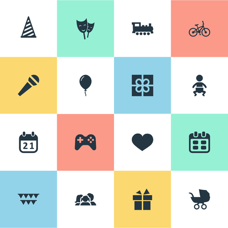 Vector Illustration Set Of Simple Celebration Icons. Elements Soul, Box, Special Day And Other Synonyms Days, Play And Decorations.