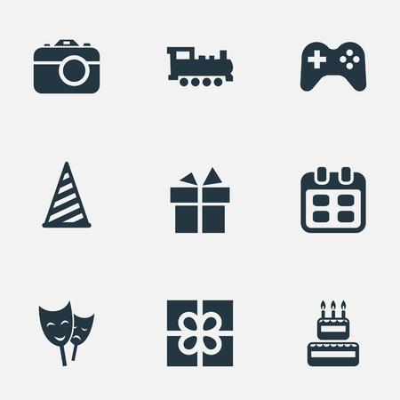 単純な休日のアイコンのベクトル イラスト セット。要素の鉄道、カメラ、マスク、その他類義語賞キャップし、再生します。