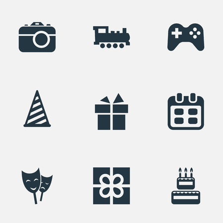 Vector Illustration Set Of Simple Holiday Icons. Elements Train, Camera, Mask And Other Synonyms Prize, Cap And Play. Illustration