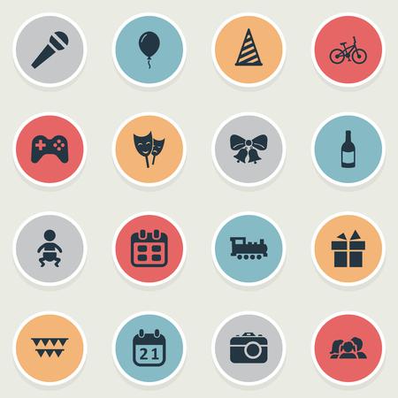 Vector illustratie Set van eenvoudige verjaardag iconen. Elementen Camera, spel, lint en andere synoniemen Gift, ballon en fiets. Stock Illustratie