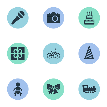 Vector Illustration Set Of Simple Celebration Icons. Elements Cap, Confectionery, Train And Other Synonyms Microphone, Steam And Party. Illustration