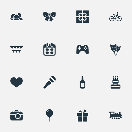 Vector Illustration Set Of Simple Birthday Icons. Elements Train, Resonate, Domestic And Other Synonyms Theater, Joystick And Camera.