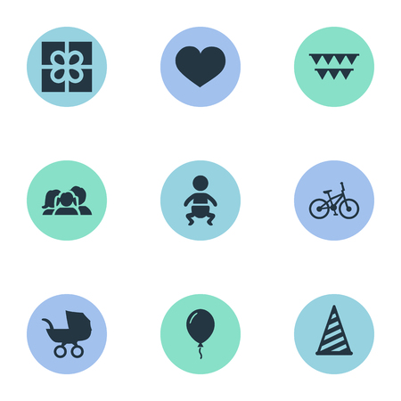 Vector Illustration Set Of Simple Celebration Icons. Elements Bicycle, Box, Baby Carriage And Other Synonyms Decorations, Stroller And Aerostat.