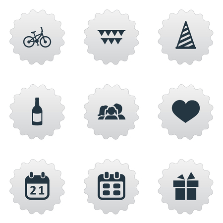 Vector Illustration Set Of Simple Holiday Icons. Elements Beverage, Soul, Ribbon And Other Synonyms Bicycle, Schedule And Beverage. Illustration