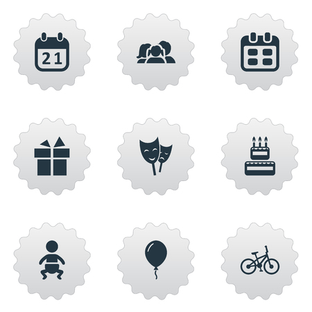 Vector Illustration Set Of Simple Holiday Icons. Elements Infant, Special Day, Mask And Other Synonyms Domestic, Bicycle And People.