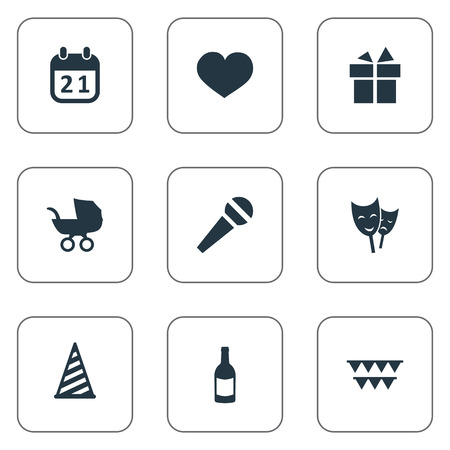 Vector Illustration Set Of Simple Holiday Icons. Elements Special Day, Ribbon, Speech And Other Synonyms Cap, Mask And Hat.