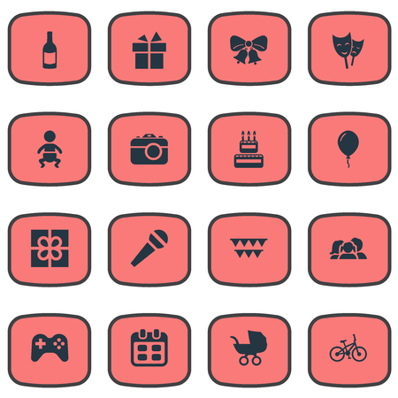 Vector Illustration Set Of Simple Holiday Icons. Elements Speech, Beverage, Aerostat And Other Synonyms Present, Aerostat And Infant.