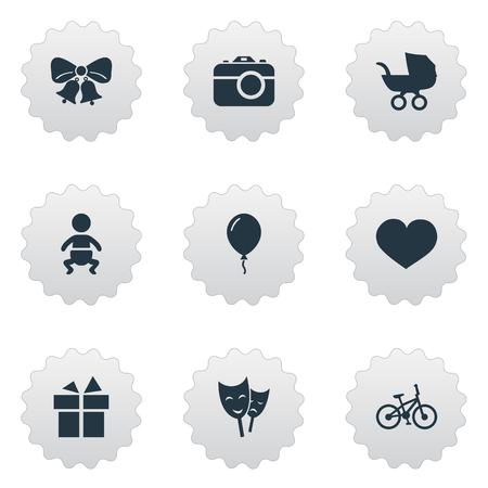 Vector illustratie Set van eenvoudige verjaardag iconen. Elementen Camera, masker, lint en andere synoniemen Aerostaat, fotografie en klokken.