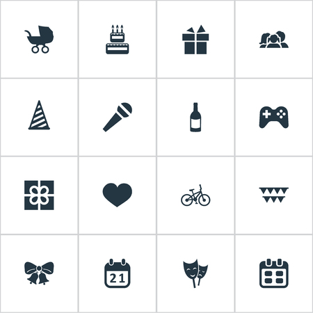 Vector Illustration Set Of Simple Birthday Icons. Elements Days, Game, Decorations; And Other Synonyms Calendar, Heart And Microphone. Illustration