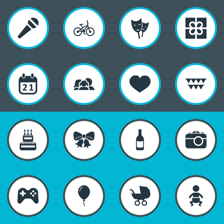 Vector Illustration Set Of Simple Birthday Icons. Elements Camera, Decorations;, Special Day And Other Synonyms Cake, Beverage And Kid.