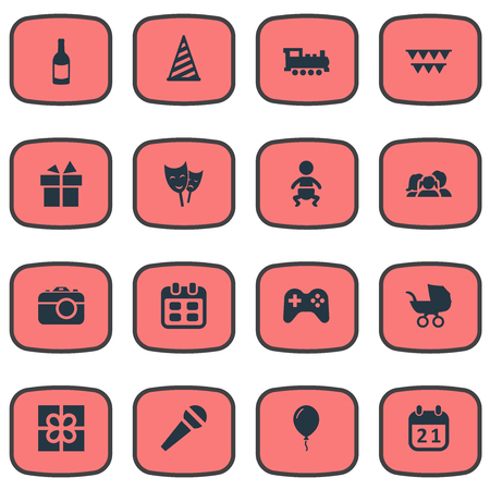 Vector Illustration Set Of Simple Birthday Icons. Elements Ribbon, Game, Train And Other Synonyms Aerostat, Flags And Balloon. Illustration