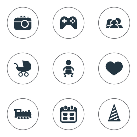 Vector Illustration Set Of Simple Celebration Icons. Elements Baby Carriage, Game, Camera And Other Synonyms Kid, Hat And Steam.