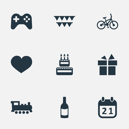 Vector Illustration Set Of Simple Holiday Icons. Elements Soul, Game, Special Day And Other Synonyms Steam, Sweetmeat And Soul.