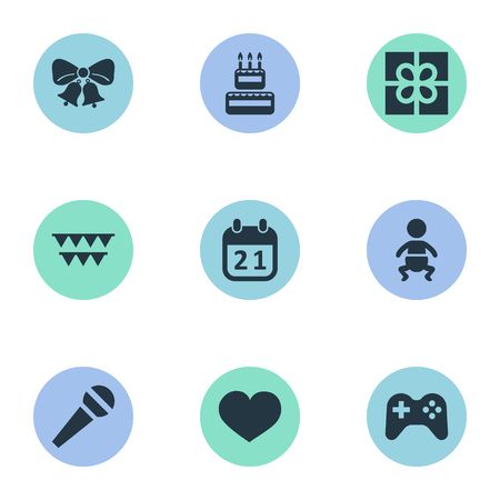 Vector Illustration Set Of Simple Celebration Icons. Elements Special Day, Soul, Box And Other Synonyms Baby, Infant And Joystick.