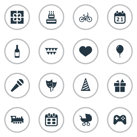 Vector Illustration Set Of Simple Celebration Icons. Elements Decorations;, Soul, Confectionery And Other Synonyms Theater, Cake And Soul.