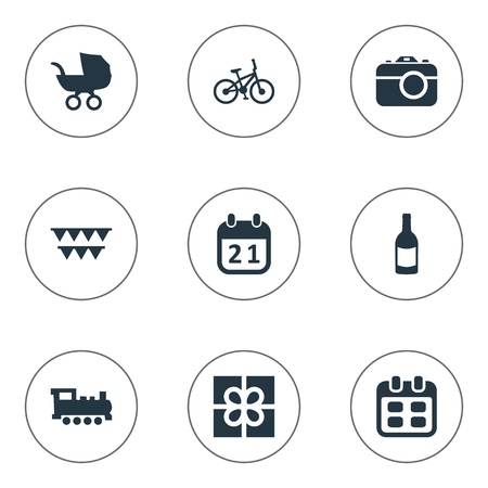 Vector Illustration Set Of Simple Holiday Icons. Elements Bicycle, Special Day, Camera And Other Synonyms Days, Photo And Box. Vector Illustration