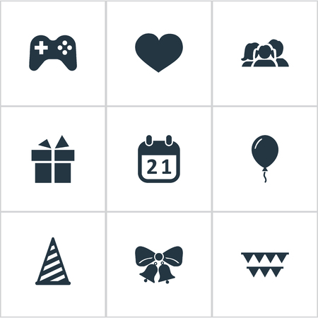 Vector Illustration Set Of Simple Holiday Icons. Elements Resonate, Decorations;, Soul And Other Synonyms Cap, Aerostat And People.