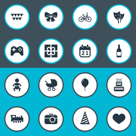 Vector Illustration Set Of Simple Birthday Icons. Elements Bicycle, Soul, Resonate And Other Synonyms Heart, Infant And Actor.