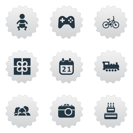 Vector Illustration Set Of Simple Holiday Icons. Elements Bicycle, Box, Game And Other Synonyms Bike, Infant And Day.